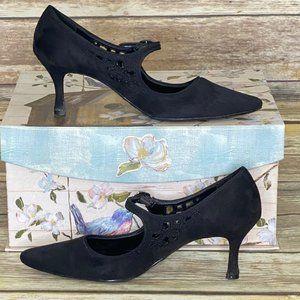Predictions Black Suede Kitten Heels - Size 6 1/2